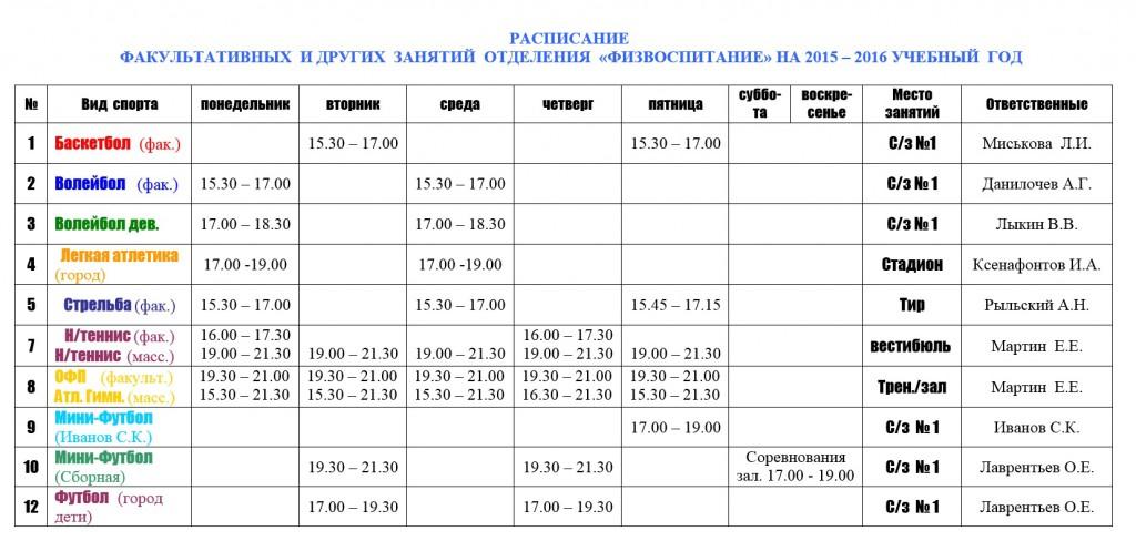 Расписание факультативных и других занятий отделения ФИЗВОСПИТАНИЕ